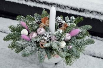 Зимняя композиция со свечой